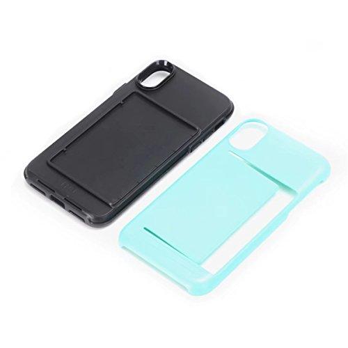 iPhone X Handycover, MOONMINI für iPhone X Dual Layer Hybrid Hülle Brieftasche Kartensteckplätze Handy Tasche Case Slim Fit Hard PC Weich TPU Stoßfest Back Abdeckung Beschützer Shell mit Kartenschlitz Minzgrün