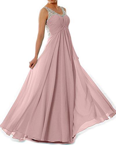 MACloth Women Straps V Neck Chiffon Lace Long Prom Dress Formal EveningBall Gown Zartrosa