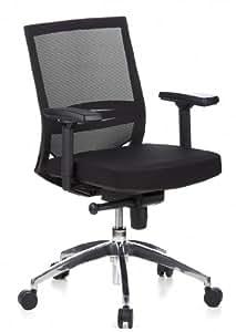 hjh OFFICE 657235 Bürostuhl PORTO PRO Netzstoff Schwarz Ergonomischer Schreibtischstuhl mit Armlehnen und Netzrücken