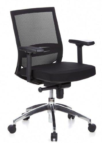 hjh OFFICE 657235 Bürostuhl Drehstuhl PORTO PRO Netzstoff schwarz/schwarz, gute feste Polsterung, langlebiger Netzrücken, höhenverstellbare Armlehnen, Schreibtischstuhl ergonomisch, Büro Sessel