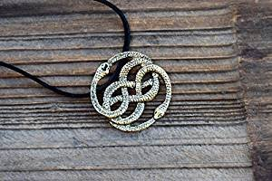 Antik Bronze Halskette, Auryn Halskette, Leder, Choker Option, never ending Schlange Anhänger, Schlange Kreis, Herren (Antike Kostüm Geschichte)