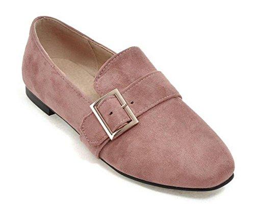 DONNA chiuso le dita dei pattini delle pompe Fibbia in metallo pelle scamosciata singolo scarpe piatte da tennis Scarpe Grigio Rosa Rosso Nero Pink