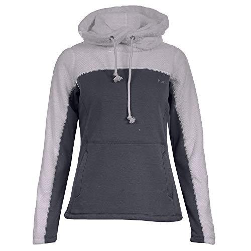 horze Luanna Fleece Womens Pullover Hoody UK 14 Reg Polar Grey Navy