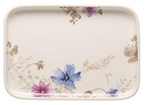 Villeroy & Boch Mariefleur Gris Plat de service de cuisson, 36x26 cm, Porcelaine Premium, Blanc/Multicolore