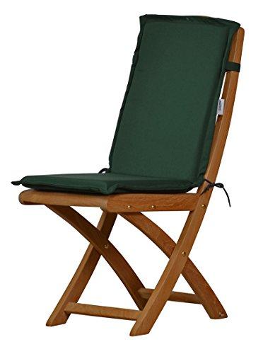 2 x Dunkelgrüne Sitzauflage für Garten-Stühle & Klappstühle, 88 x 40 cm | Premium...