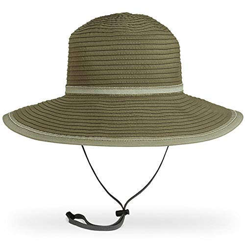 AOHH Straw Beach Hat Strohhut Damen Sommer Strand Breite Krempe Sonnenhut Uv Schutz Hut Faltbarer Panama Olive -