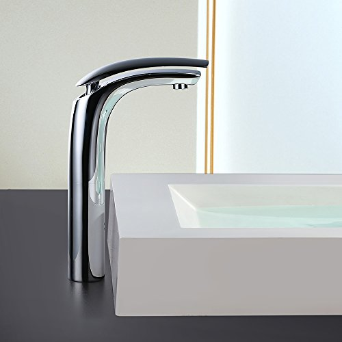 Homelody – Design-Waschtischarmatur, Einhebelarmatur, ohne Ablaufgarnitur, hoher Auslauf, Chrom - 3