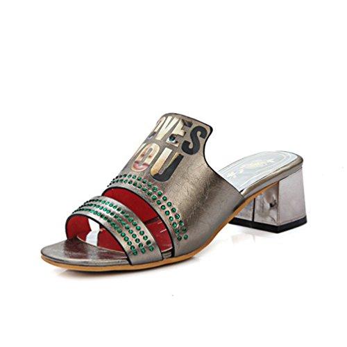 JRenok Womens Strass Riemchen Slide Sandalen öffnen Toe Block Heel Plattform Sparkly Kleid Keile ()