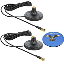 HQRP SET: 2 PCS 3M RP-SMA WiFi Antenna Extension Cable Connector Magnetic Base for Belkin F5D8230zh4 / F5D7233zh / F5D8231zh4 / F5D6001 / F5D7000 / F5D7001 + HQRP Coaster