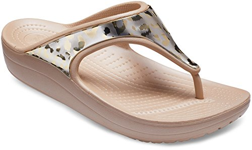 crocs Sloane Metallic Graphic Flip Women Gold/Gold Croslite