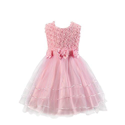 Discoball Mädchen Rose Blumen Kleid Rosa 1-2 Jahre