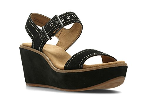 Clarks Womens Casual Clarks Aisley Orchid Suede Sandals In Black Wide Fit...