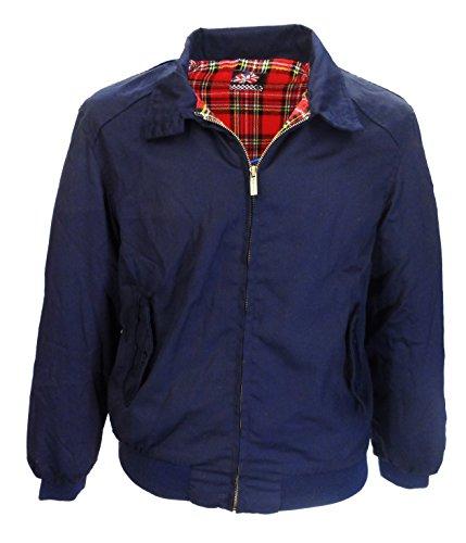 Vintage Harrington Von Wholesale Workwear - Erwachsene Harrington Jacke Britisch Mantel Klassisch 1970er Jahre Retro Scooter Kariertes Futter, Dunkelblau, 4X-Large (Britische Kleidung)