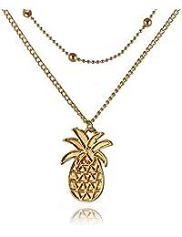 2aaaef4b78b1 AieniD Collar Múltiples Capas Dobles con Colgante De Piña Oro Collar para  Mujeres Longitud 48
