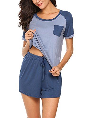 HOTOUCH Damen Zweiteiliger Schlafanzug, kurz Blau M
