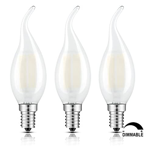 TAMAYKIM 6W Dimmable LED Filament Candle Light Bulb, 3000K Soft White 600LM, E14 Candelabra Base Lamp, C35 Flame Shape Bent Tip, Frosted Glass Cover, 60W Incandescent Equivalent, 3 Pack