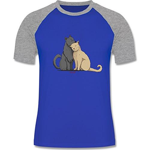 Katzen - kuschelnde Katzen - zweifarbiges Baseballshirt für Männer Royalblau/Grau  meliert