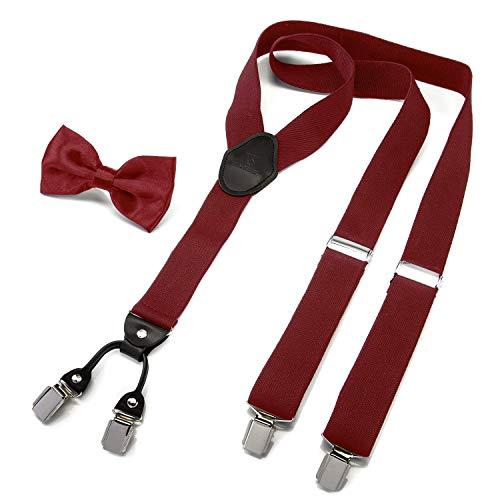 VAN SELK Hosenträger - Angesagte Hosenträger in Y-Form - 20er Jahre Herren Hosenträger in rot mit Fliege - Men's braces with bow tie (Weinrot) -