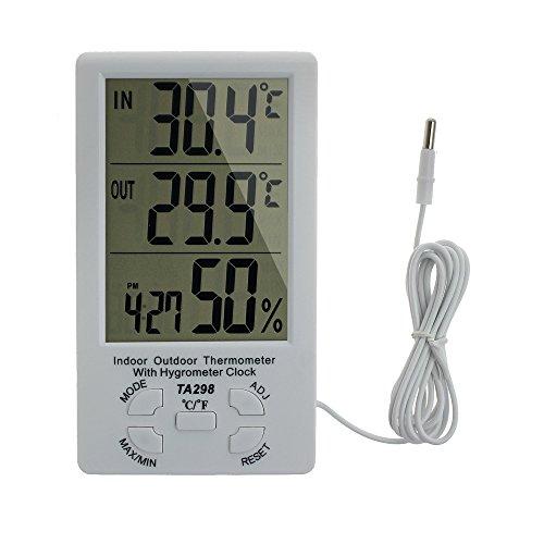 Hygrometer Thermometer Digital LCD Display Messung Tragbare Indoor Outdoor Temperatur Meter Sonde Sensor für Wetterstationen Büro Raum Garten Gewächshaus Krankenhaus Labor und Zucht Industrie