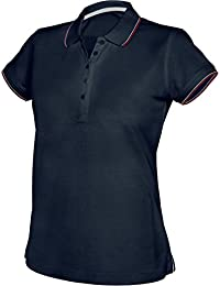 Kariban Frauen Kontrast Kurzarm Poloshirt - Navy oder weiß / Größe UK 8-16