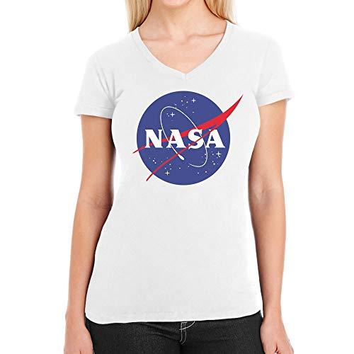 NASA Space Raumfahrt Damen Outfit Damen T-Shirt V-Ausschnitt Small Weiß