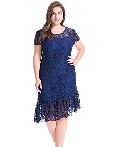 Kleider Plus Size Formale Blau (Chicwe Damen Große Größen Gefüttertes Stretch Blumen Lace Mantel Kleid mit ungleichem Saum Marine Blau 1X)