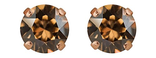 Rosi Klassik Ohrstecker 6mm Swarovski-Kristall, Farbe:light smoked topaz