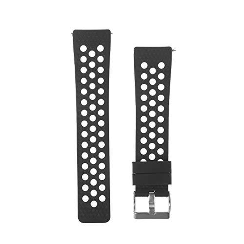 GROOMY Smart Armband Sportuhr Pure Color Ventilate Strap Armband für Fitbit Versa - Schwarz