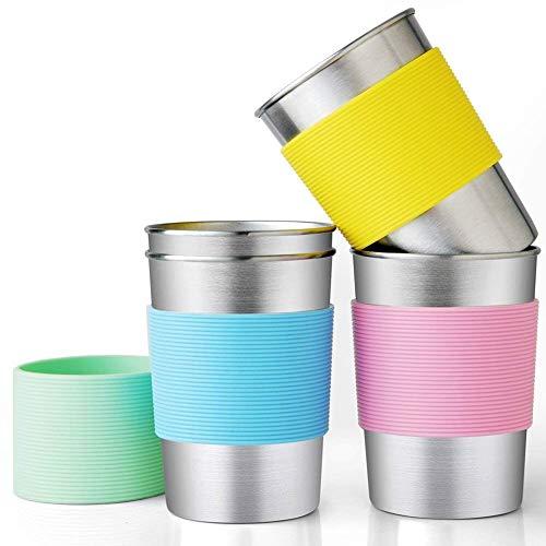 Vasos apilables de acero inoxidable para bebidas, 325 ml, taza de metal resistente para niños con mangas de silicona, vasos de pinta 4 unidades para actividades en el hogar y al aire libre