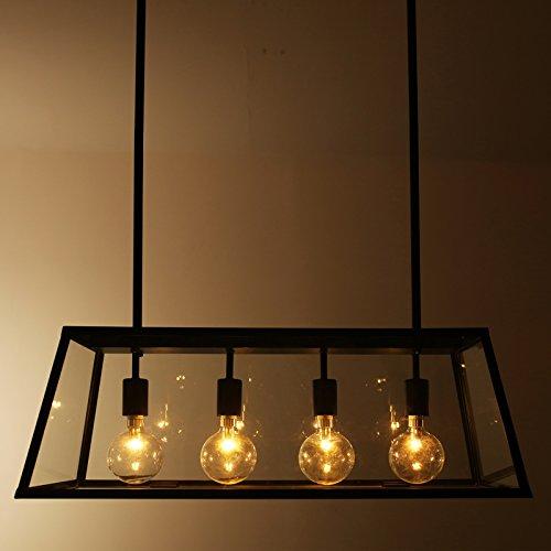 BBSLT Stile loft a ferro lampada da tavolo scatole di vetro sala da pranzo luminosa lampadario rettangolare Viva Creativo luci sala caffetteria personalità 780*290mm , B