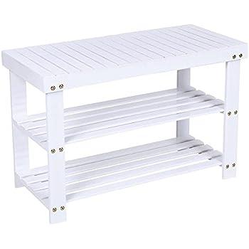 woodluv 2tier wooden shoe rack hallway bench shoe tidy storage organiser 70 x 29 x 46 cm white