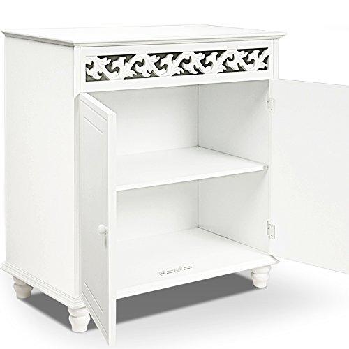 Deuba Kommode weiß Jersey Landhaus Stil mit 2 Türen, Einlegeboden, 76 x 65 x 35cm - Sideboard Schrank Anrichte Mehrzweckschrank Holz Antik - 2