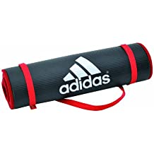 adidas - Esterilla de entrenamiento, color negro y rojo