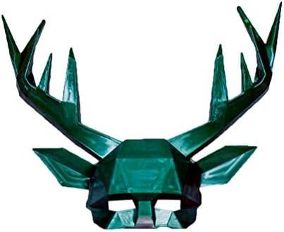 BESTOYARD Halloween Demi-Visage Masque Animal Antler Tête Tête Tête Masque Mascarade Fête De Noël Halloween Costume Accessoires Cosplay Masque (Vert) 4689d8