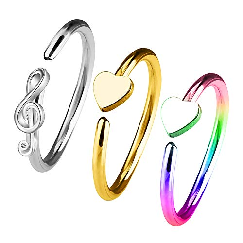 5a5b5771fa141 OUFER 3PCS 20G 316L Stainless Steel Nose Ring Heart Shape Nose Stud  Surgical Steel Rainbow Nose Ring Set Musical Note Nose Piercing Jewellery.