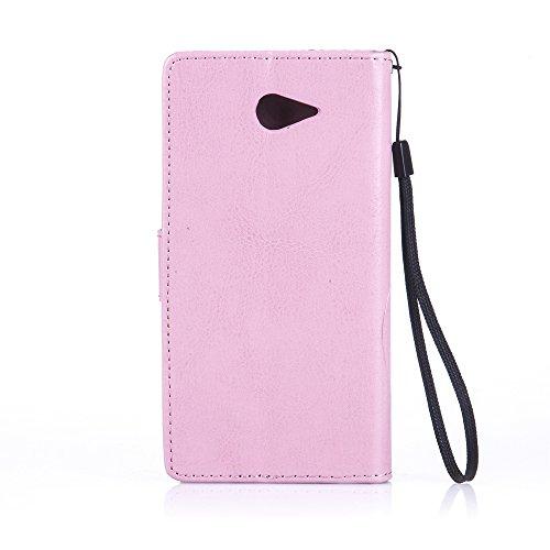 Prägen Blumen-Case, Magnetverschluss Synthetische PU-Leder-Kasten-Abdeckung mit hängenden Seil und Wallet-Funktion für Sony M2 ( Color : Purple , Size : Sony M2 ) Purple