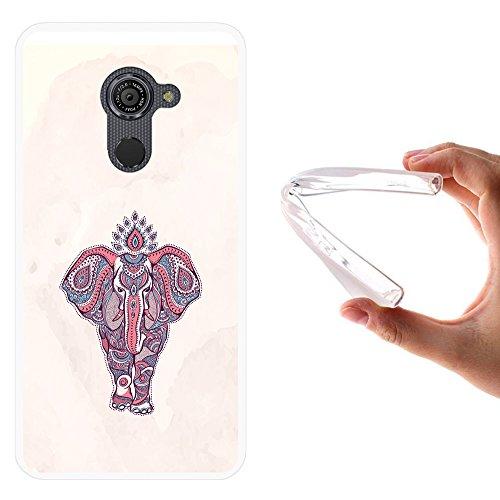 WoowCase Vodafone Smart Platinum 7 Hülle, Handyhülle Silikon für [ Vodafone Smart Platinum 7 ] Indischer Stil mit Elefanten Handytasche Handy Cover Case Schutzhülle Flexible TPU - Transparent