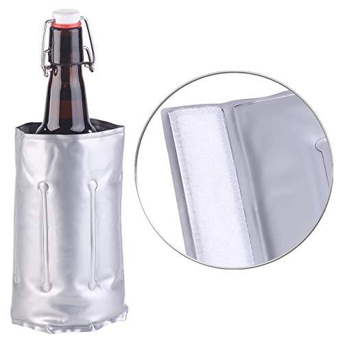 infactory Bierkühler: Flaschenkühler mit Klettverschluss für Ø 75-80 mm, Kühl- & Wärme-Gel (Weinkühler Kühlmanschetten) (Acht Flasche Wein Kühler)