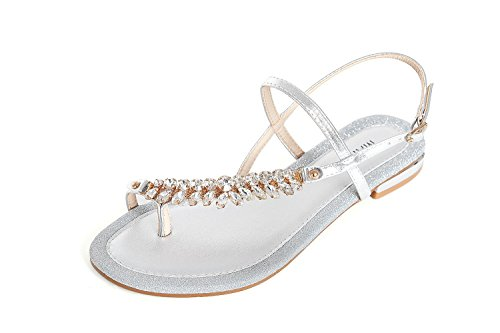 0f35eca8db65 YC.MARINO Ladies Silver Leather Sandals Summer Walking Clip Toe Wide ...