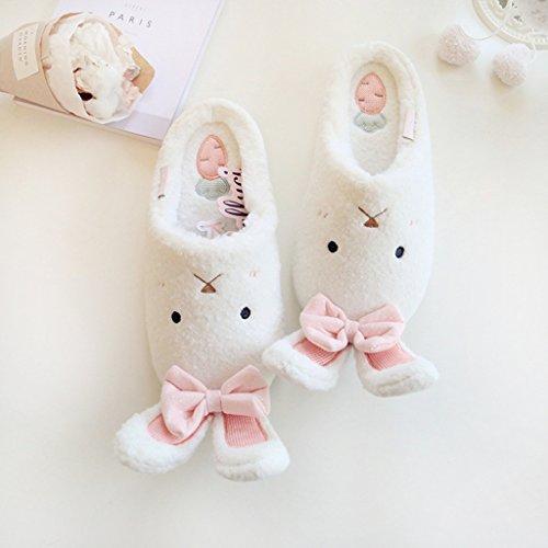 Fortuning's JDS Donne delle signore delle ragazze Accogliente vello casa Calzature arco Bello Coniglio comodo pantofole Bianco