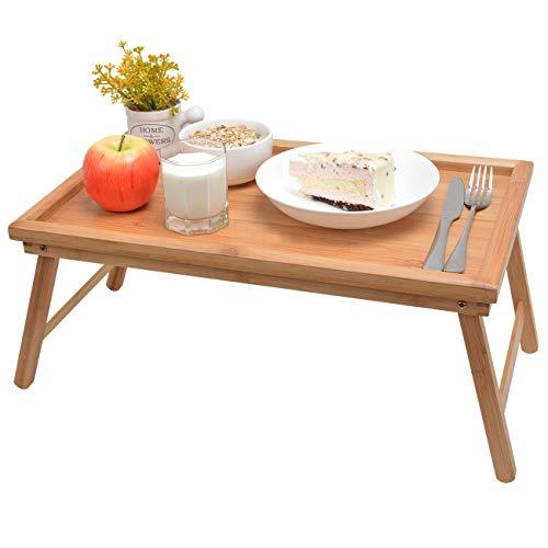 Betttablett Serviertablett Tabletttisch mit klappbaren Beinen - Sofatisch Frühstückstablett fürs Bett 50x30x23cm, Bambus