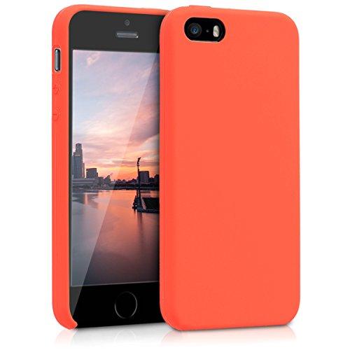 kwmobile Schutzhülle kompatibel mit Apple iPhone SE / 5 / 5S - Hülle aus [TPU] für Handy - Cover [Rückseite] in [neon orange]