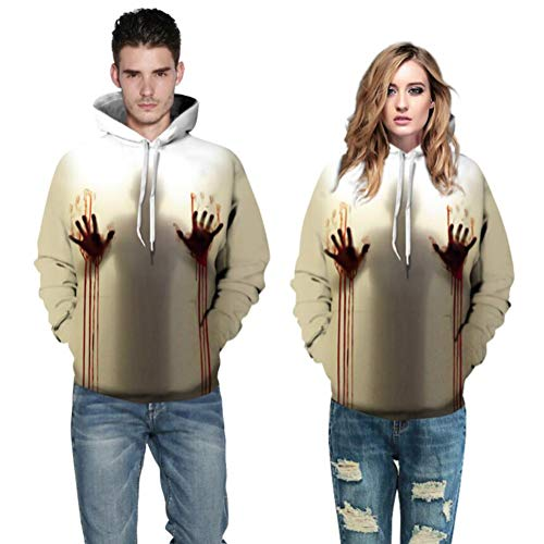 Kostüm Bloody Blutiges Paar Paare Mit Kapuze Stretch Sweater Festival Aktivität Party Rolle Spielen 3D Weiß Farbabstimmung Realistisch,S/M ()
