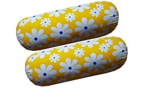 HSR Collection Cotton 144TC Printed Bolster Cover - Set of 2 Piece, Yellow