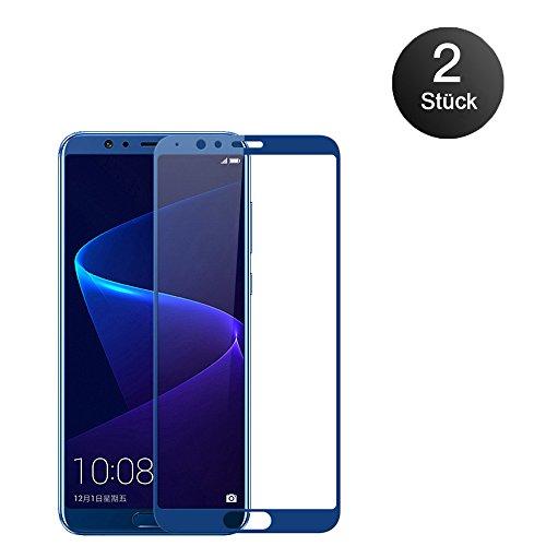Joppen [2 Stück] Honor View 10 Panzerglas Schutzfolien, 9H Anti-Fingerabdruck Bildschirmschutzfolie für Huawei Honor View10 Folie (Blau)