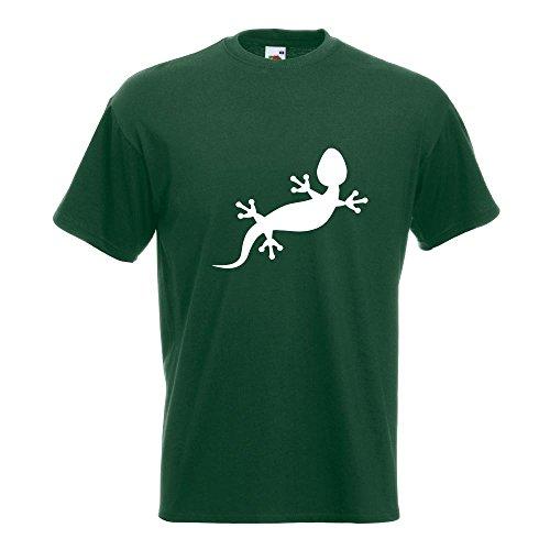 KIWISTAR - Gecko Motiv 2 T-Shirt in 15 verschiedenen Farben - Herren Funshirt bedruckt Design Sprüche Spruch Motive Oberteil Baumwolle Print Größe S M L XL XXL Flaschengruen