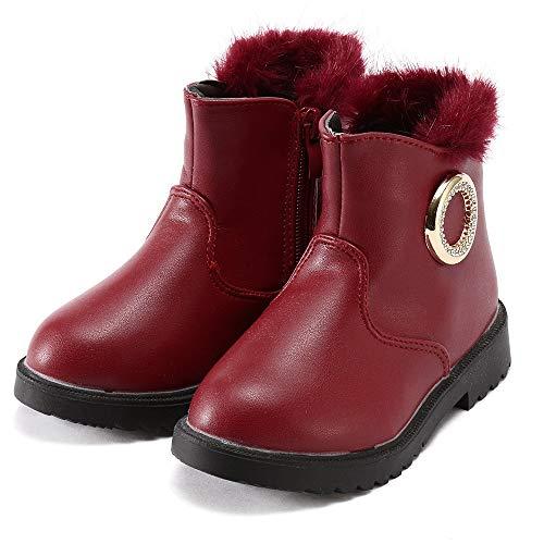 Bild von HUHU833 Kinder Mode Mädchen Baby Stiefel, Einfarbig Warme Kurze Stiefel Crystal Knöchel Schnee Stiefel Schuhe