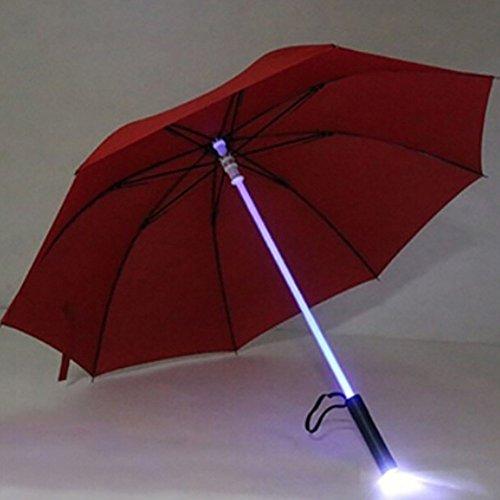 ESHOO con paraguas, luz LED flash paraguas noche protección transparente paraguas con 7Color, Rojo, Diameter: 105cm/41'