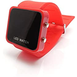 AKORD LED RETRO STYLISH FASHION DIGITAL MENS/LADIES/GIRLS/BOYS JELLY WRIST WATCH (Red)