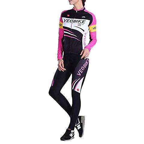 Brave Pioneer Femme Cyclisme Vélo Maillot Manches Longues Jersey Pantalon Coussin de Siège Tops Séchage Rapide Vélos VTT Cycle Bike Shirt (Type 3, M)